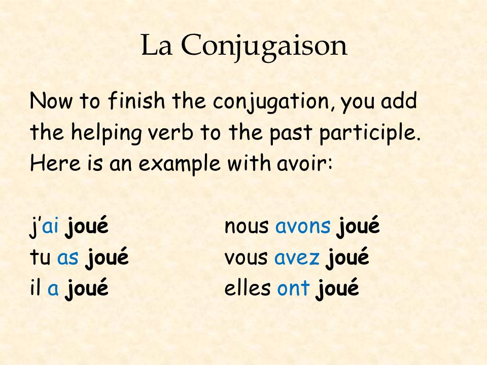 La Conjugaison Now to finish the conjugation, you add