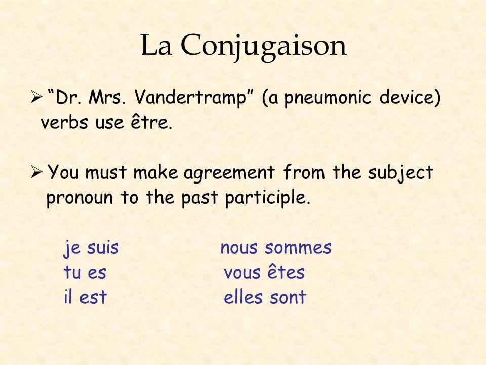 La Conjugaison Dr. Mrs. Vandertramp (a pneumonic device)