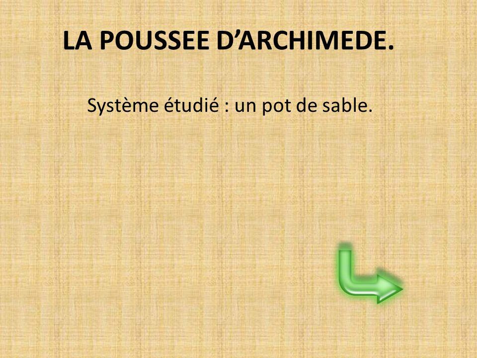 LA POUSSEE D'ARCHIMEDE.