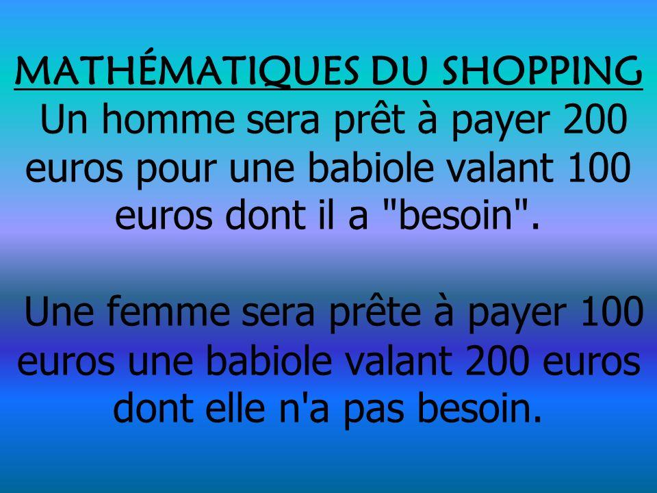 MATHÉMATIQUES DU SHOPPING Un homme sera prêt à payer 200 euros pour une babiole valant 100 euros dont il a besoin .