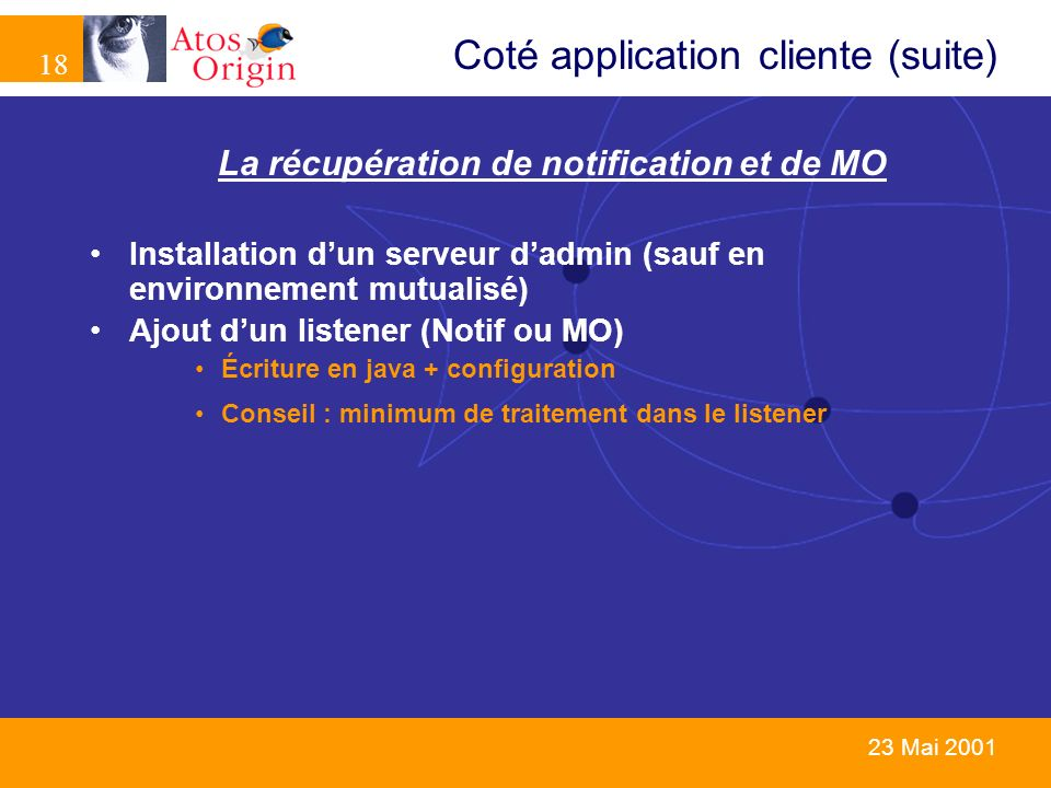 Coté application cliente (suite)
