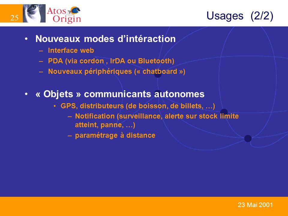 Usages (2/2) Nouveaux modes d'intéraction