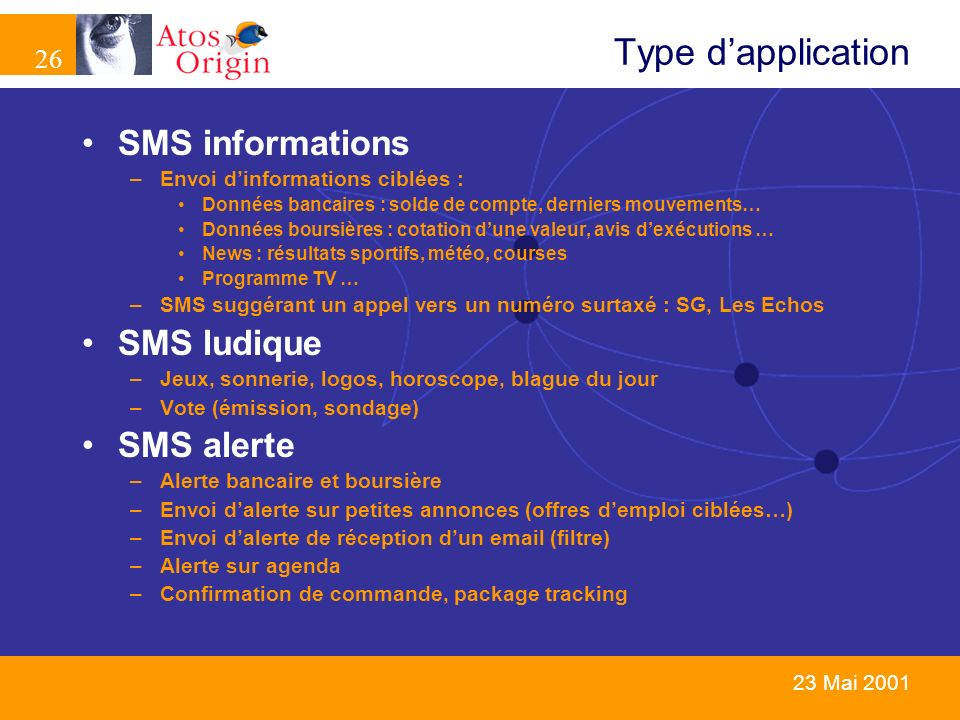 Type d'application SMS informations SMS ludique SMS alerte