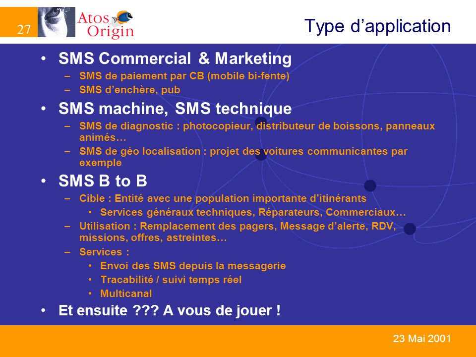 Type d'application SMS Commercial & Marketing