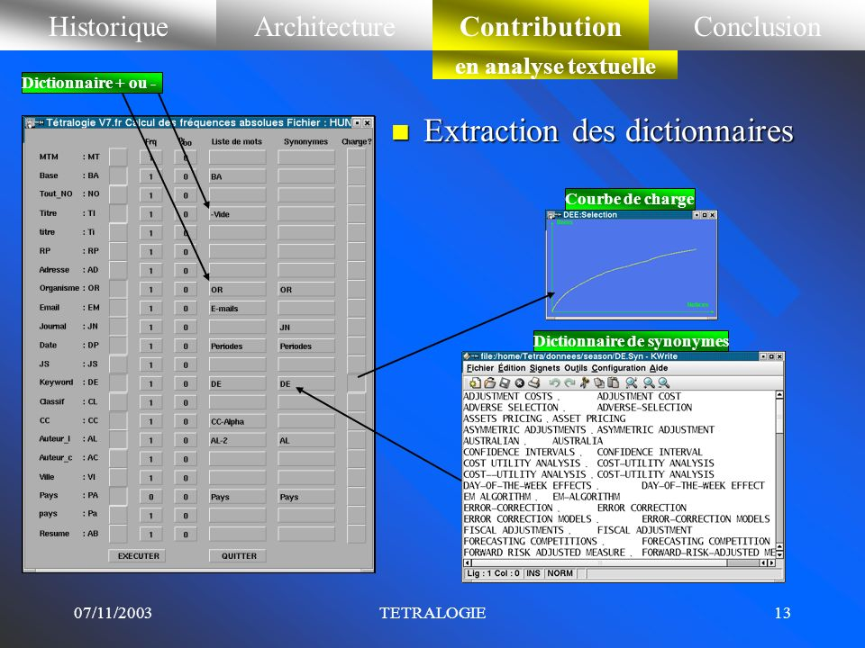 Extraction des dictionnaires
