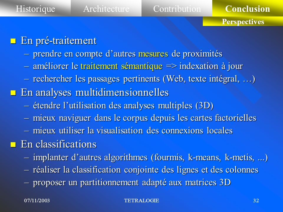 En analyses multidimensionnelles