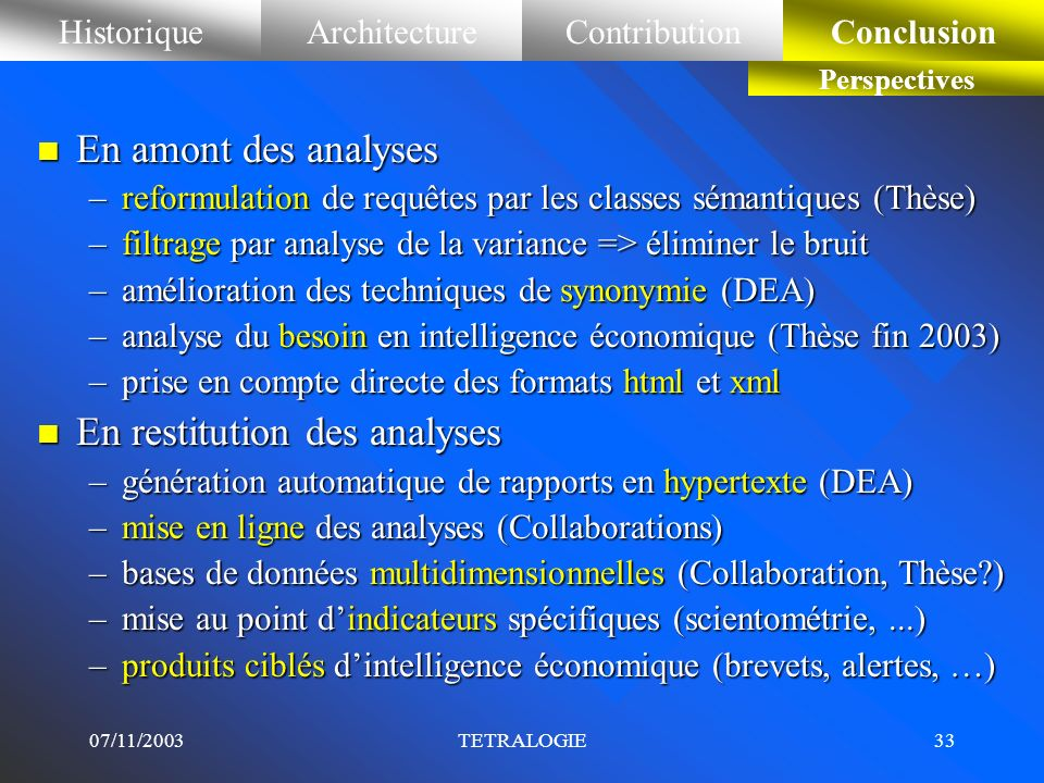 En restitution des analyses