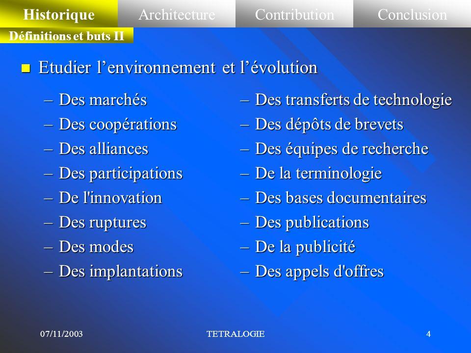 Etudier l'environnement et l'évolution