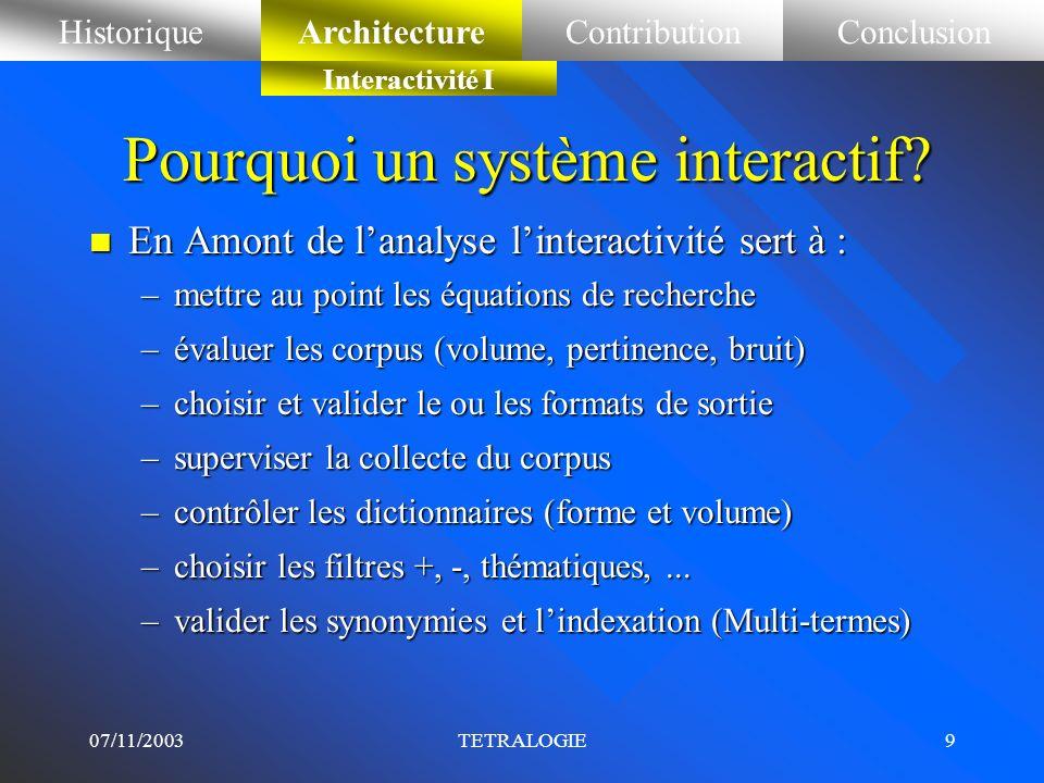 Pourquoi un système interactif