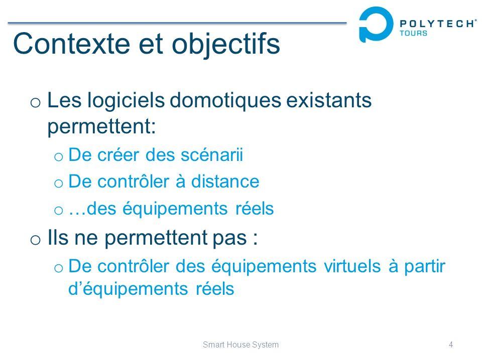 Contexte et objectifs Les logiciels domotiques existants permettent: