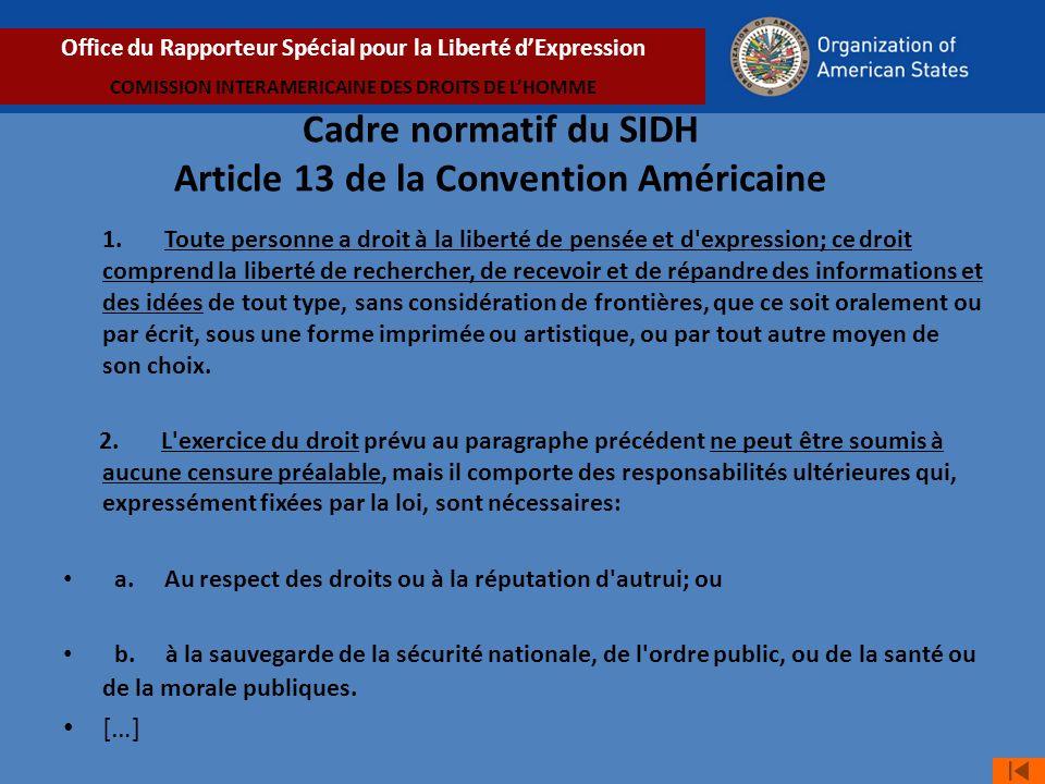 Cadre normatif du SIDH Article 13 de la Convention Américaine