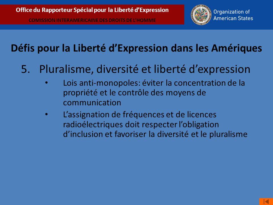 5. Pluralisme, diversité et liberté d'expression