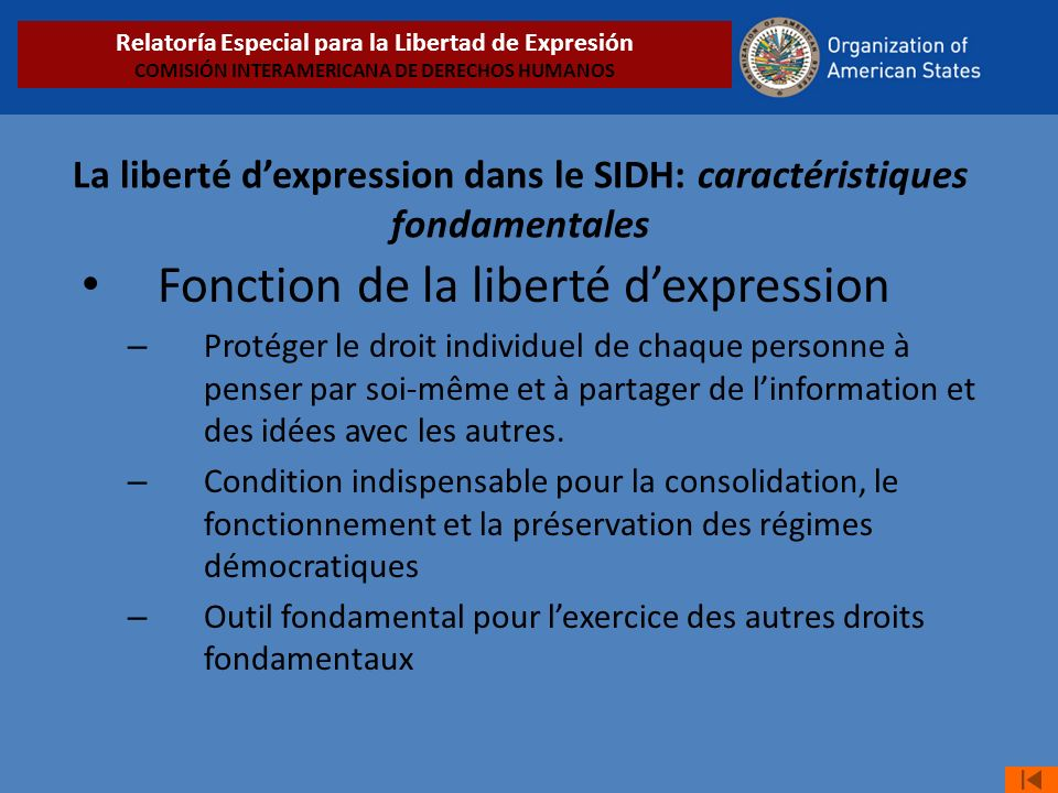 La liberté d'expression dans le SIDH: caractéristiques fondamentales