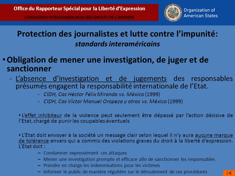 Obligation de mener une investigation, de juger et de sanctionner