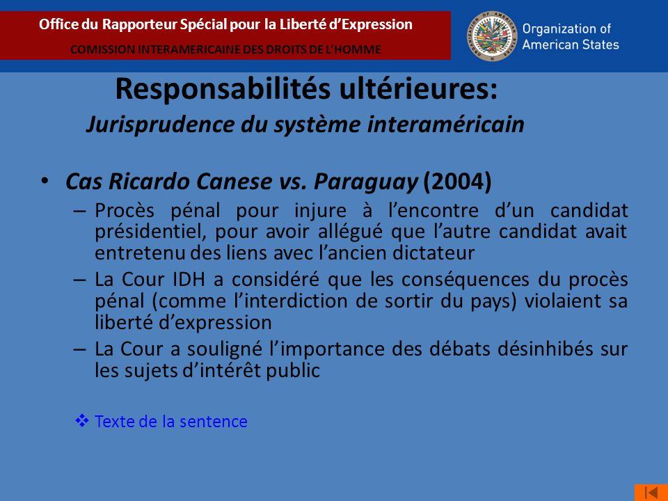Responsabilités ultérieures: Jurisprudence du système interaméricain