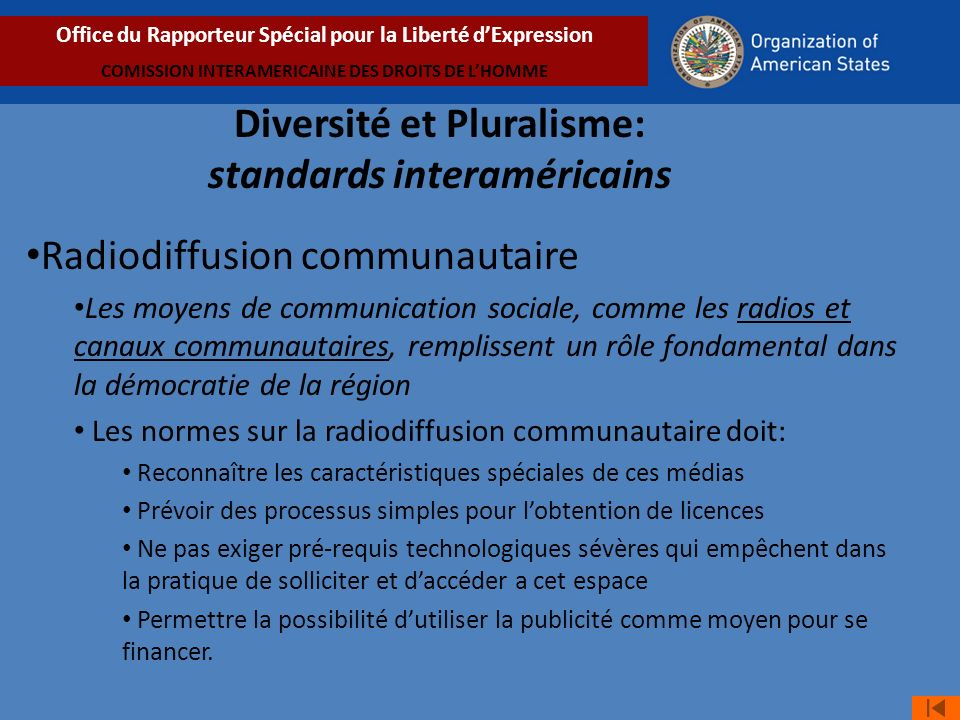 Diversité et Pluralisme: standards interaméricains
