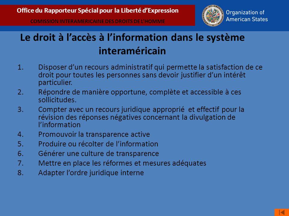 Le droit à l'accès à l'information dans le système interaméricain