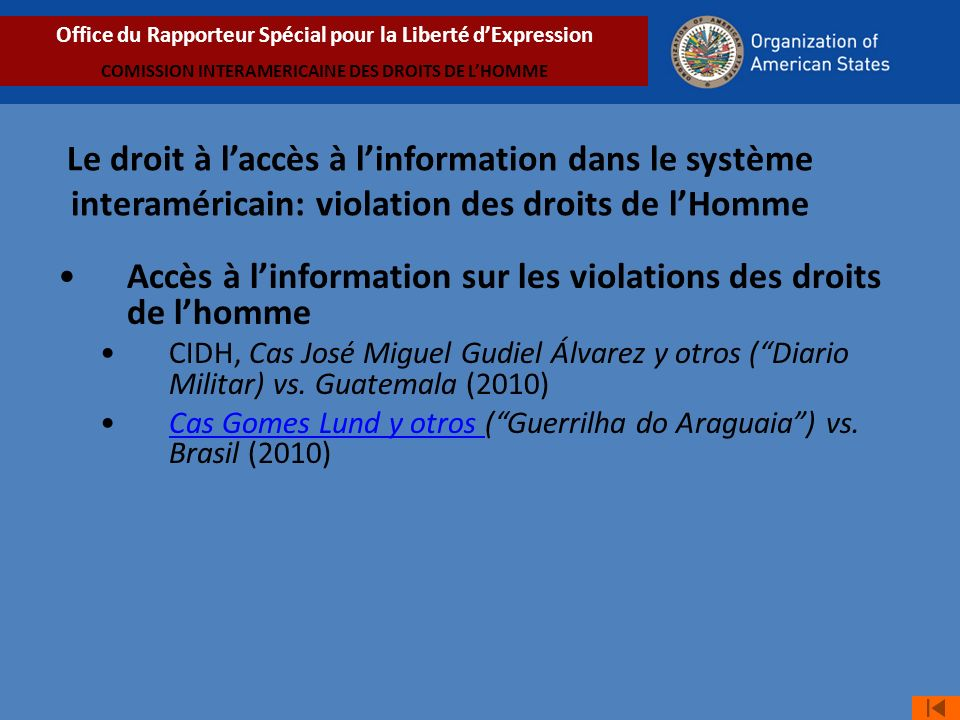 Accès à l'information sur les violations des droits de l'homme