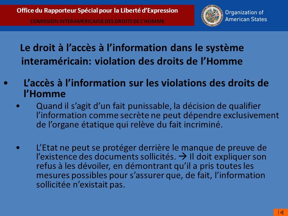 L'accès à l'information sur les violations des droits de l'Homme