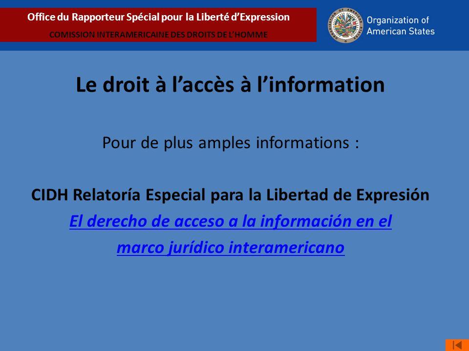 Le droit à l'accès à l'information