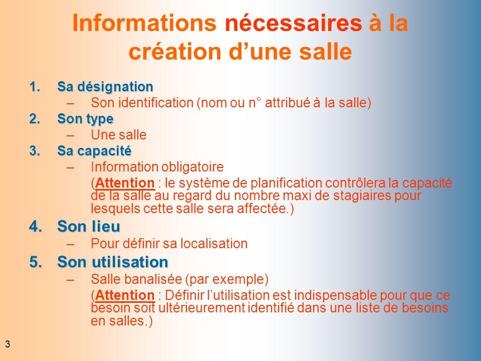 Informations nécessaires à la création d'une salle