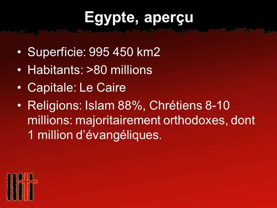 Egypte, aperçu Superficie: 995 450 km2 Habitants: >80 millions