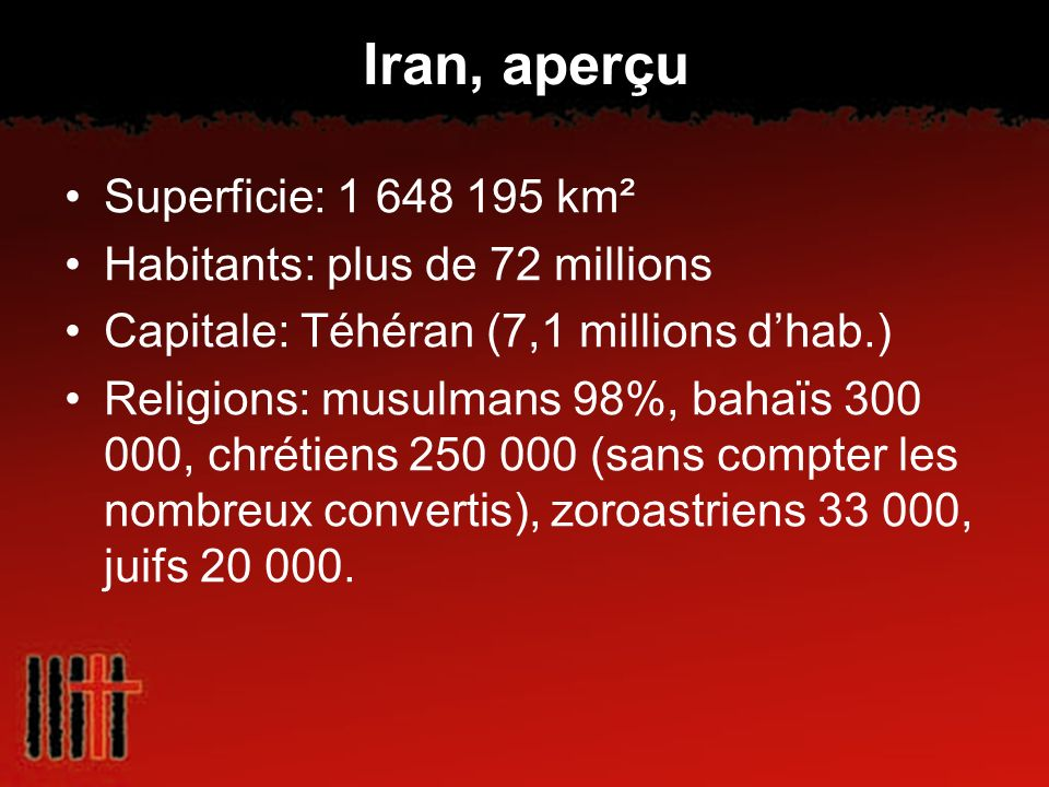 Iran, aperçu Superficie: 1 648 195 km² Habitants: plus de 72 millions