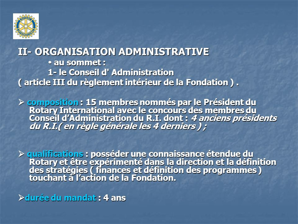 II- ORGANISATION ADMINISTRATIVE