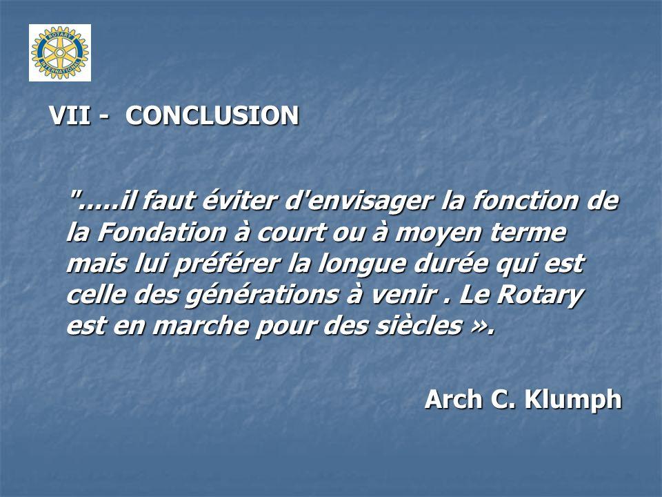 VII - CONCLUSION