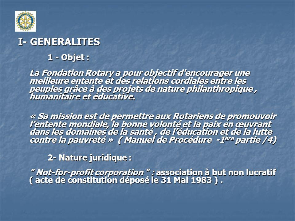 I- GENERALITES 1 - Objet :