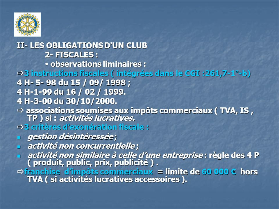 II- LES OBLIGATIONS D UN CLUB
