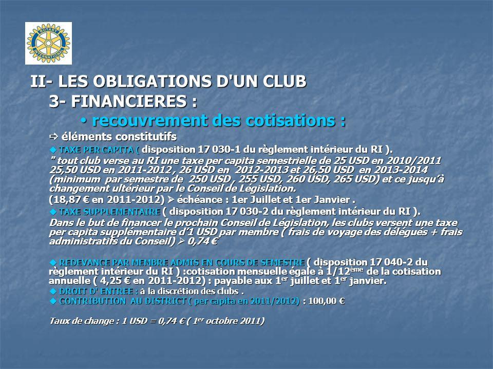 II- LES OBLIGATIONS D UN CLUB