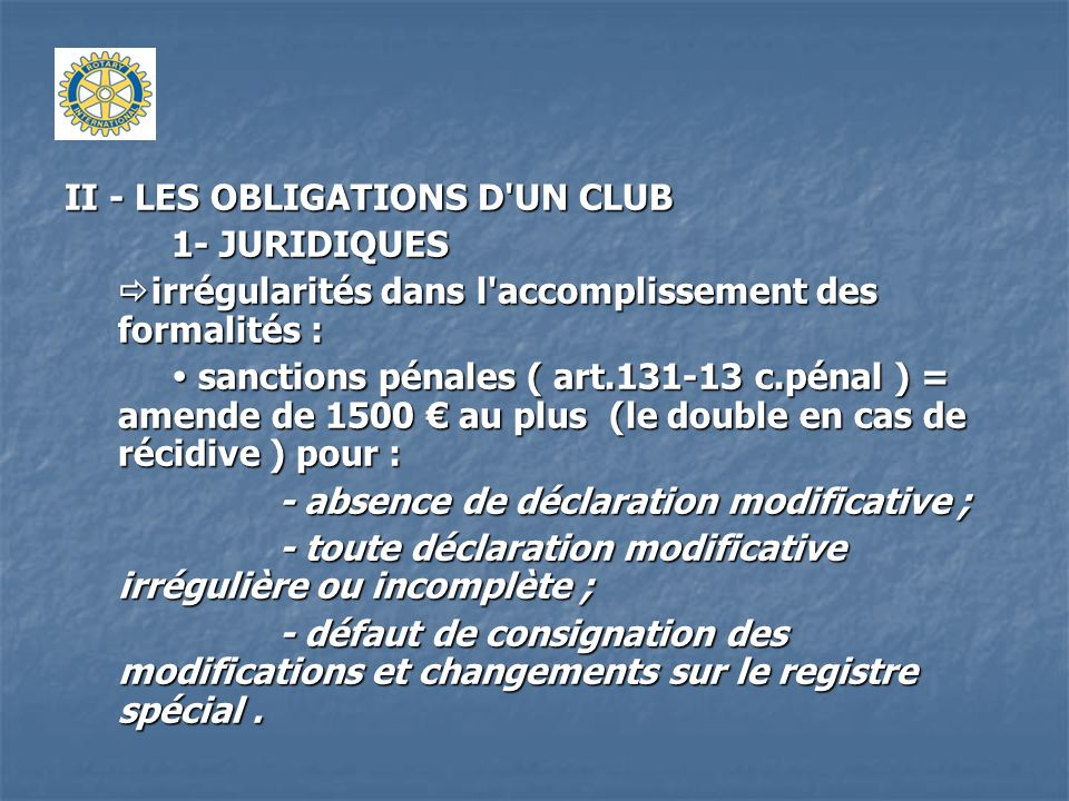 II - LES OBLIGATIONS D UN CLUB