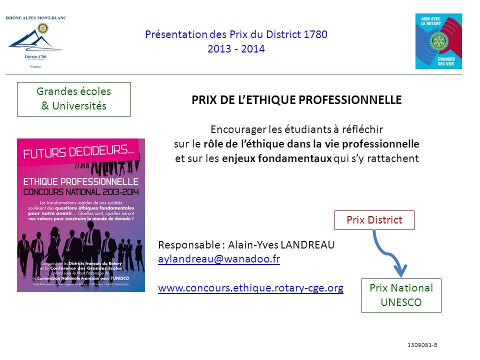 PRIX DE L'ETHIQUE PROFESSIONNELLE