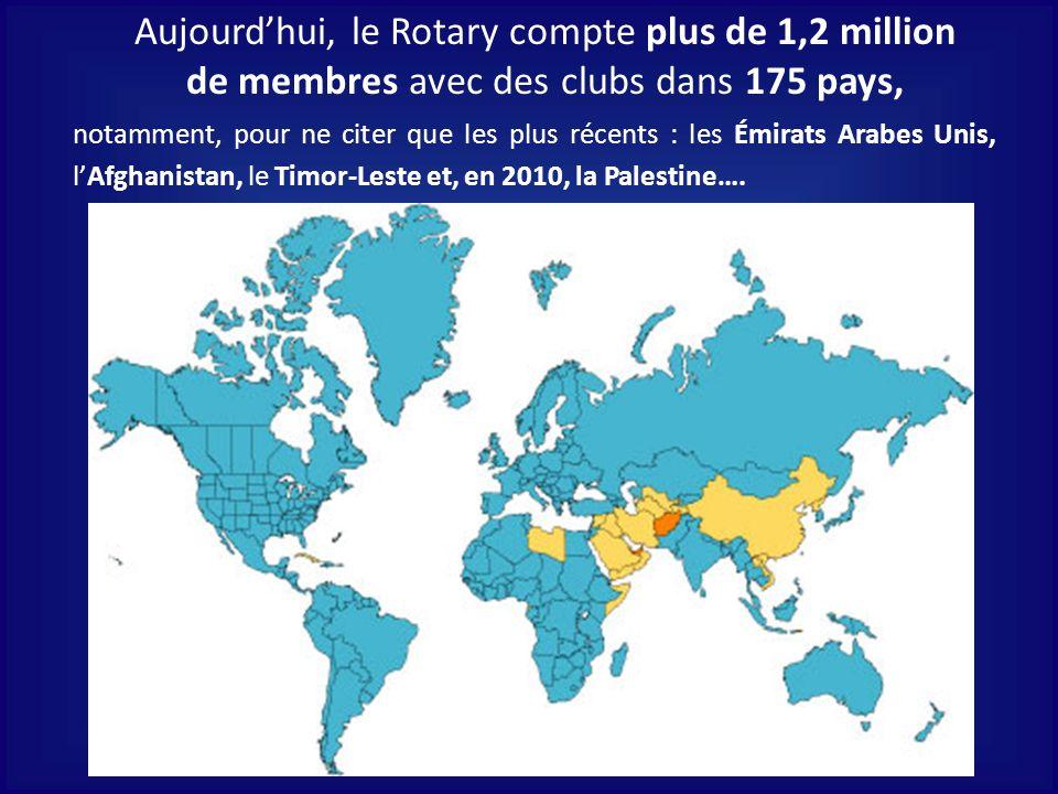 Aujourd'hui, le Rotary compte plus de 1,2 million de membres avec des clubs dans 175 pays,