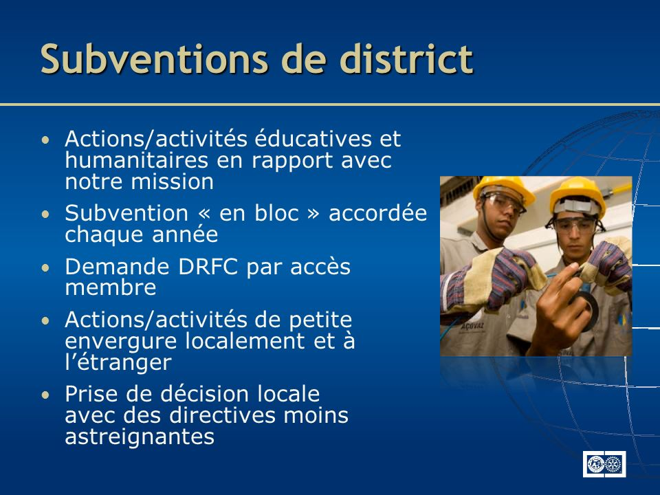 Subventions de district