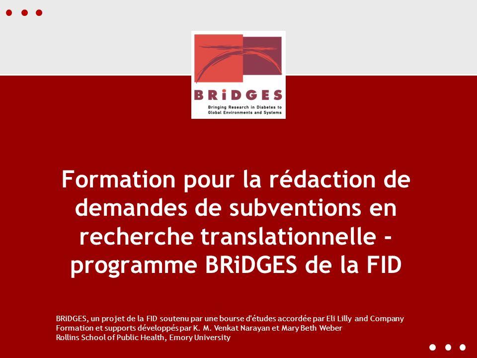 Formation pour la rédaction de demandes de subventions en recherche translationnelle - programme BRiDGES de la FID