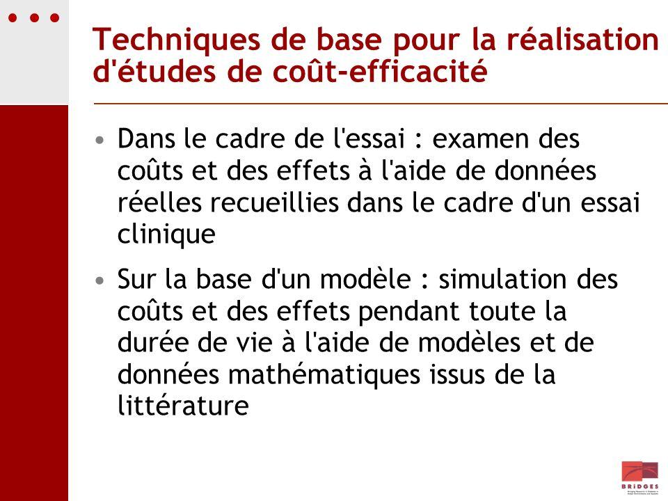 Techniques de base pour la réalisation d études de coût-efficacité