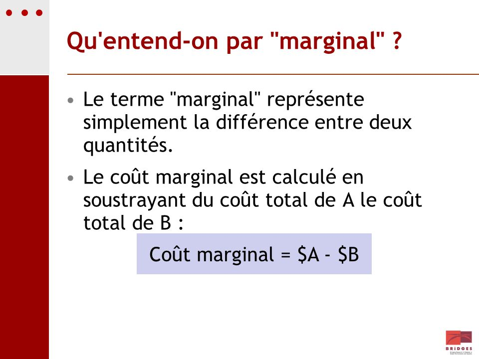 Qu entend-on par marginal