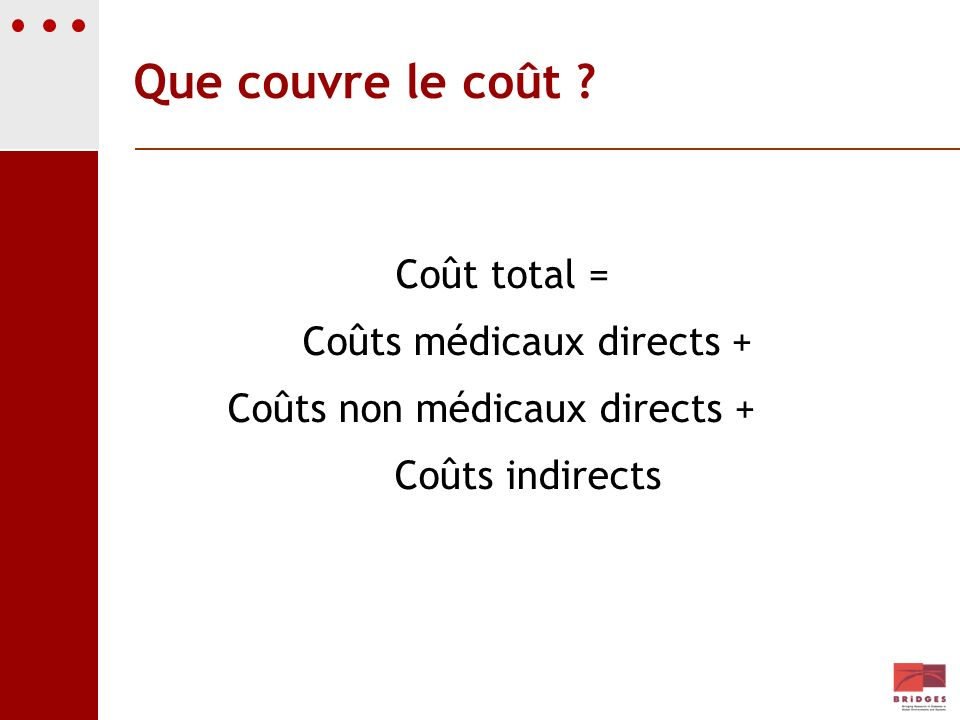 Que couvre le coût Coût total = Coûts médicaux directs +