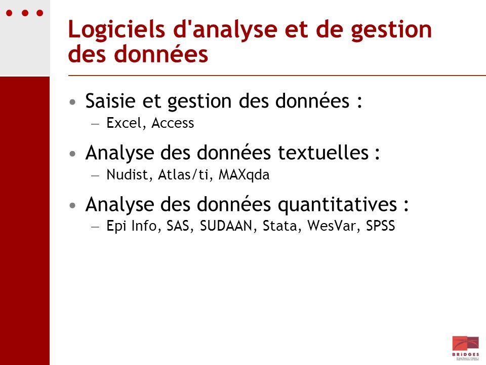 Logiciels d analyse et de gestion des données