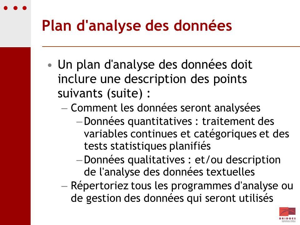 Plan d analyse des données