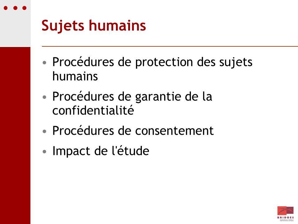 Sujets humains Procédures de protection des sujets humains