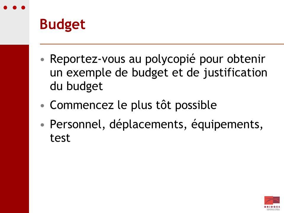 BudgetReportez-vous au polycopié pour obtenir un exemple de budget et de justification du budget. Commencez le plus tôt possible.