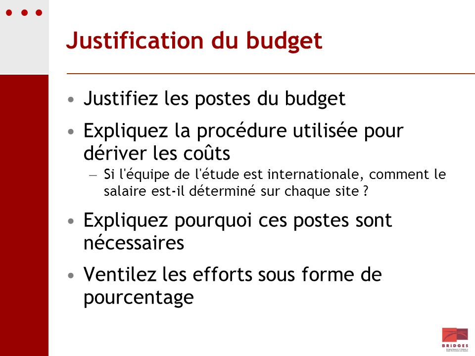 Justification du budget