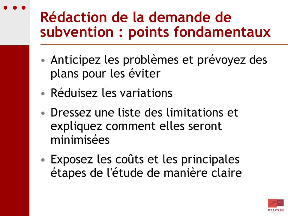 Rédaction de la demande de subvention : points fondamentaux