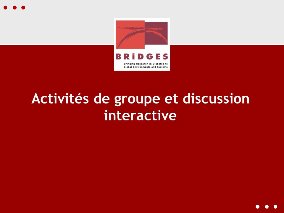 Activités de groupe et discussion interactive