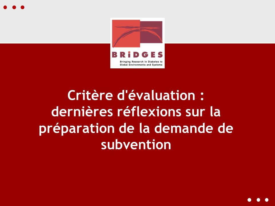 Critère d évaluation : dernières réflexions sur la préparation de la demande de subvention
