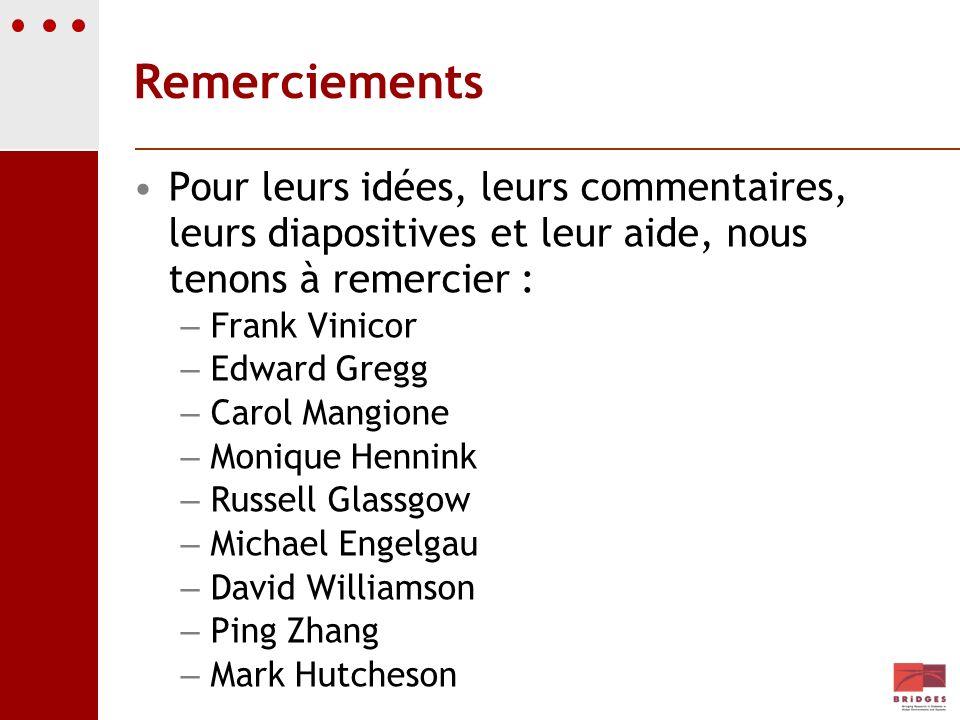 RemerciementsPour leurs idées, leurs commentaires, leurs diapositives et leur aide, nous tenons à remercier :