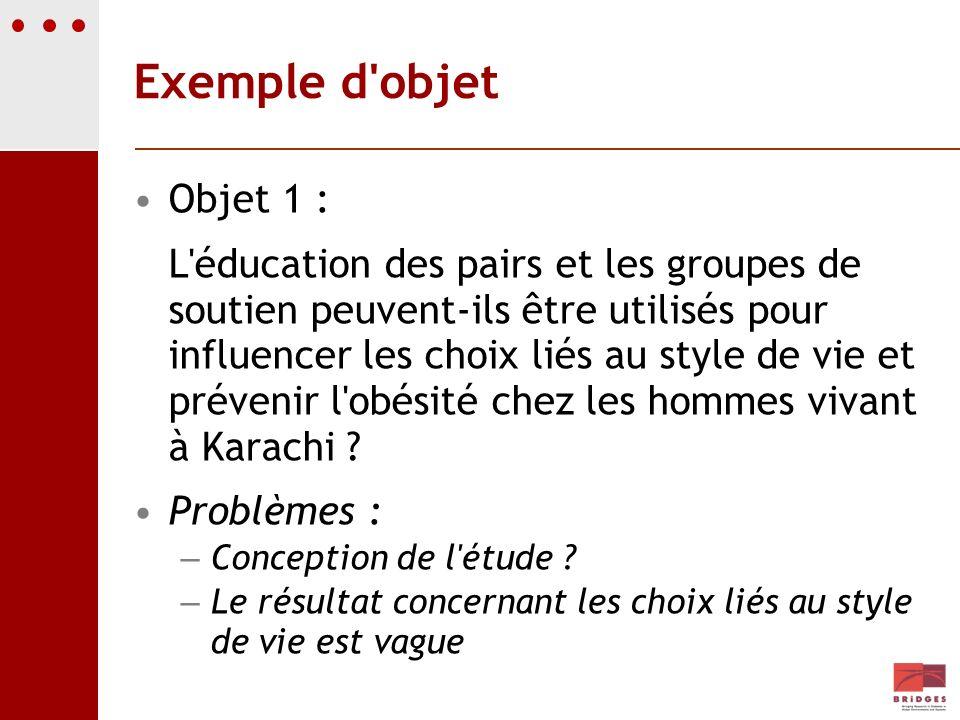 Exemple d objetObjet 1 :